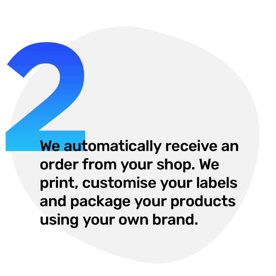 2. We automatically receive an order from your shop. We print, customise your labels and package your products using your own brand.