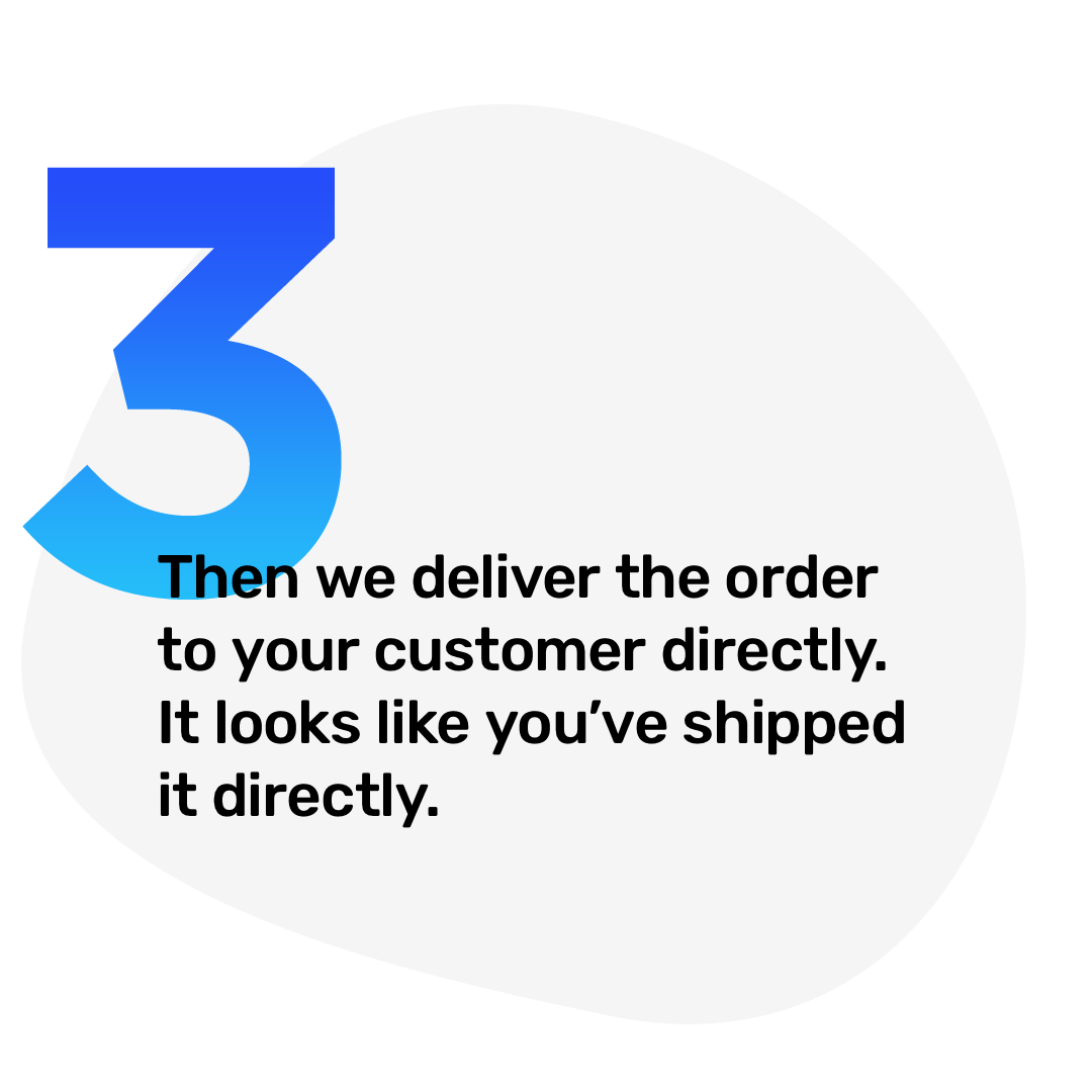 3. Then we deliver the order to your customer directly. It looks like you've shipped it directly.